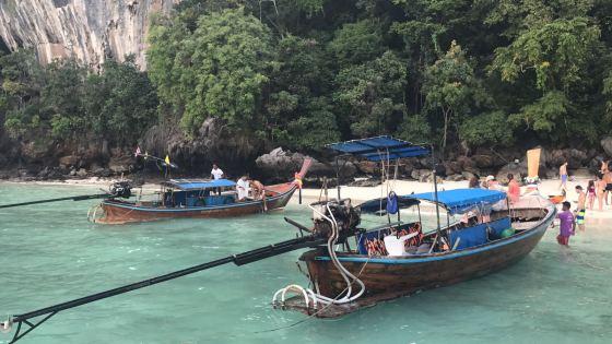 Longtail boats at Maya Beach